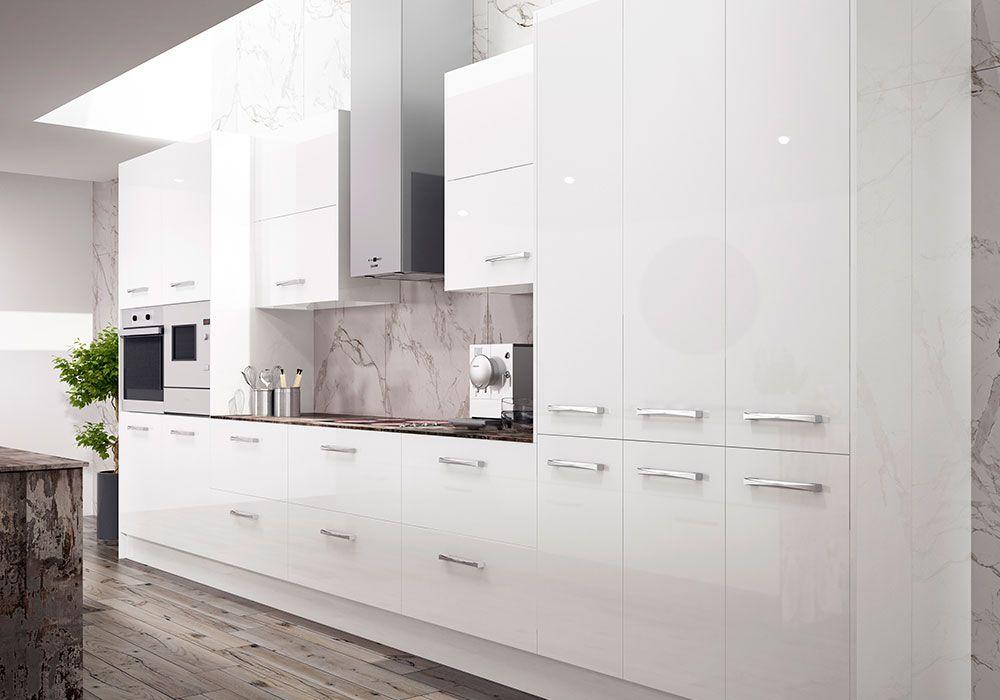 Cocinas Valencia Blancas Brillo Lacado Carpinteria Mjp